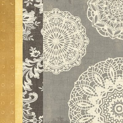 Contemporary Lace I - Yellow Grey