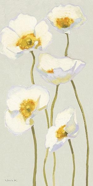 White on White Poppies Panel II