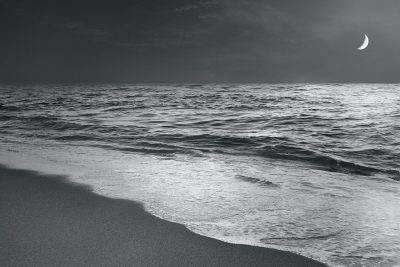 Moonrise Beach Black and White