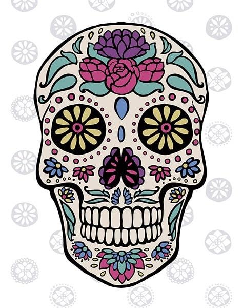 Sugar Skull III on Gray