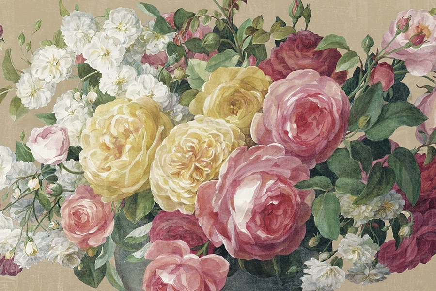 Antique Roses on Tan Crop