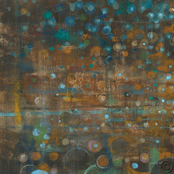Blue and Bronze Dots IX