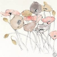 W26767 200x200 - Black Line Poppies I Watercolor Neutral