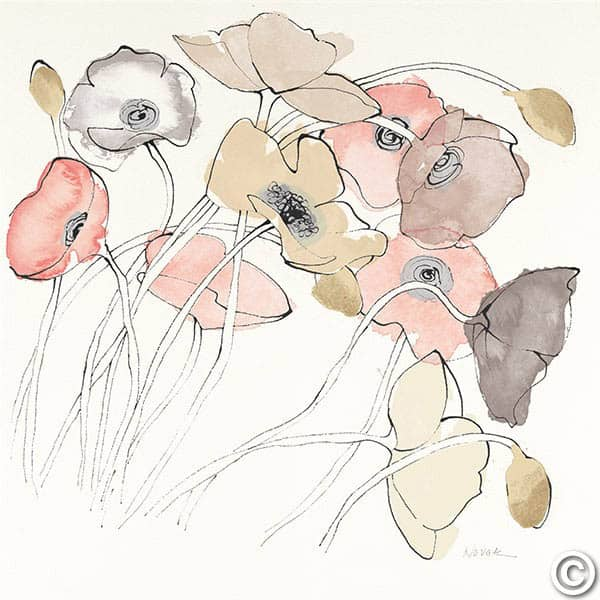 W26768 - Black Line Poppies II Watercolor Neutral
