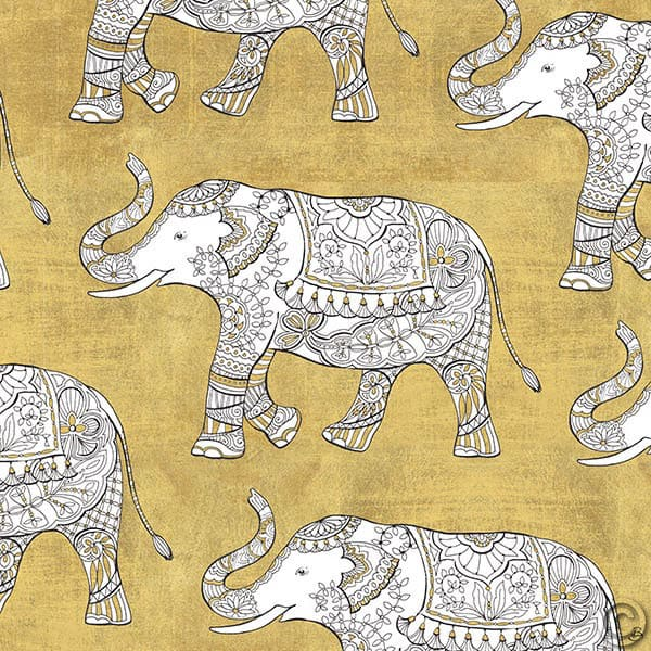 W28928 - Color my World Elephant Pattern Gold