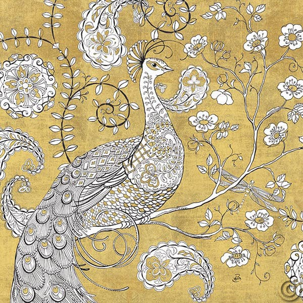 W28937 - Color my World Ornate Peacock I Gold