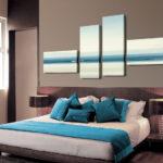 Dormitorio decorado con lienzo collage 4 piezas montado sobre bastidor IG2407