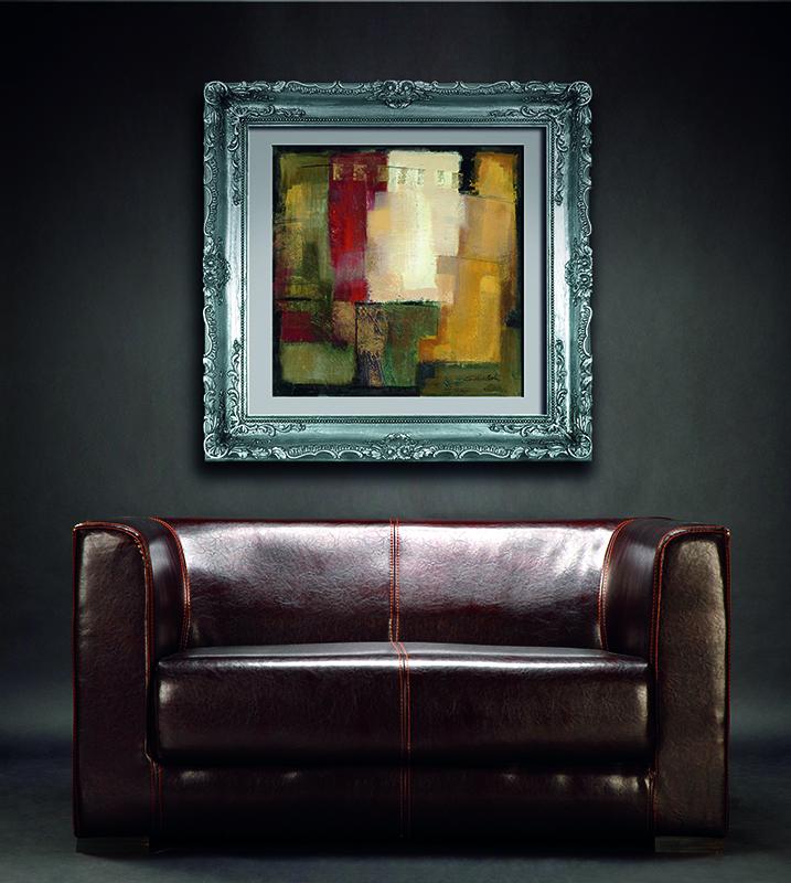 Estancia decorada con cuadro abstracto W6488 impreso en papel y enmarcado con moldura filigrana.