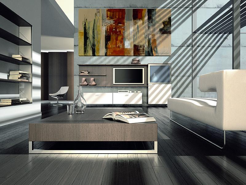 Salon decorado con abstracto W5638 impreso en lienzo y montado sobre bastidor de madera.